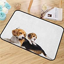 Printed Floor Mat Bath Mat Machine Washable Beagle Universal Door Mat Cute Family with Mother and Baby Puppy Domestic Fur ...