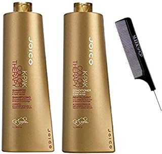 K-Pak Color Therapy Shampoo & Conditioner DUO SET - to preserve color & repair damage (w/Sleek Steel Pin Tail Comb) (33.8 ounce / 1000ml Large Liter DUO KIT)