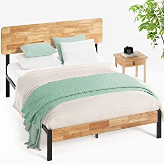 Zinus Olivia Metal and Wood Platform Bed with Wood Slat Support, Queen,HBPBB-14Q,Black