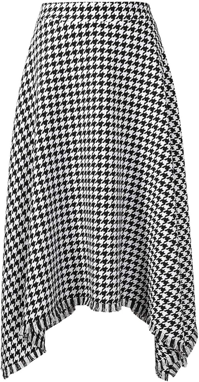 Henraly] 2019 Spring Winter Woman Temperament Stylish Plaid Pattern High Waist Zipper Long Irregular Tassel HalfBody Skirt LE887,as Shown,M