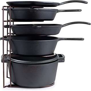 Heavy Duty Pan Organizer, Extra Large 5 Tier Rack - Holds Cast Iron Skillets, Dutch Oven, Griddles - Durable Steel Construction - Space Saving Kitchen Storage - No Assembly Required - Bronze 15.4-inch
