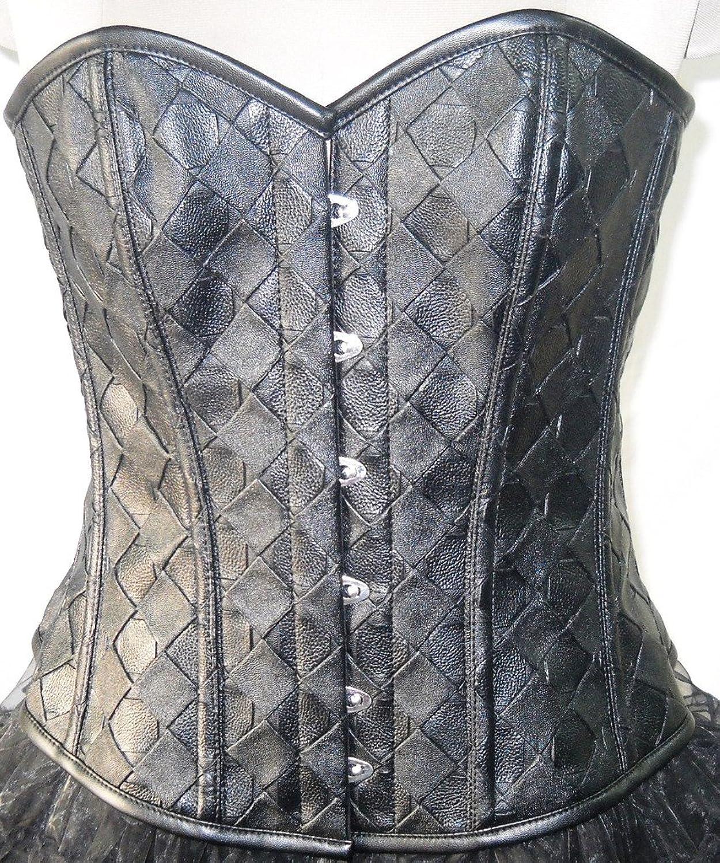 Black Faux Leather Gothic Steampunk Waist Cincher Bustier Overbust Corset Top