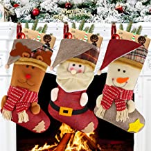 "Aitey Christmas Stocking, 18"" Set of 3 Santa, Snowman, Reindeer, Xmas Character 3D Plush Faux Fur Cuff Christmas Decoratio..."