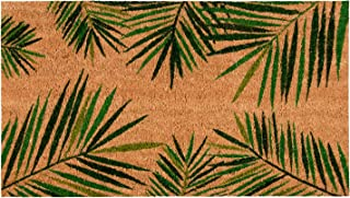Juvale Natural Coir Door Mat - All Season Indoor Outdoor Welcome Doormat, Easy Clean, PVC Anti-Slip Backing Front Entry Mats, Tropical Green Palm Leaves Design, Brown, 17.2 x 30 x 0.5 Inches