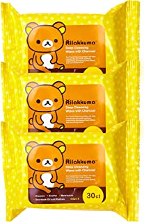 Rilakkuma - Deep Cleansing Wipes | Soothing and Moisturizing Facial Wipes with Charcoal, WItch Hazel, and Rose (3 Pack - 30 Count Each)