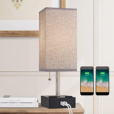 BOBOMOMO USB Table Lamp Bedside Lamps 15.5'' with 2 USB Charging Ports & 2 Power Outlet Nightstand Lamp for Bedro