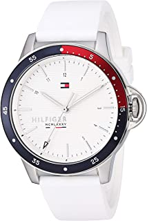 Tommy Hilfiger Women's Stainless Steel Quartz Watch with Silicone Strap, White, 18 (Model: 1782029)