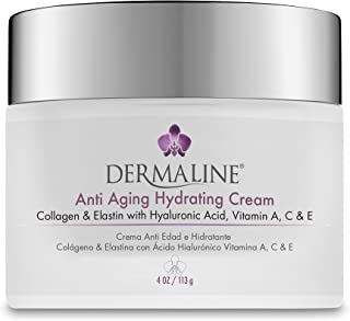 Dermaline - Anti Aging Hydrating Cream Collagen & Elastin with Hyaluronic Acid Vitamin A, C & E 4 Oz. Jar