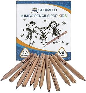 مداد کودکانه برای مبتدیان ، کودکان نوپا و پیش دبستانی با شکل مثلث جامبو ، گرافیت نرم 6B ، مداد چربی با گرفتن آسان و هسته ضخیم (بسته 12)