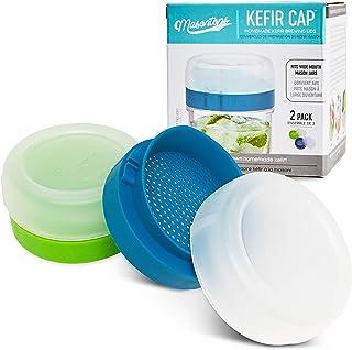 Masontops Kefir Caps - Wide Mouth Mason Jar Lids - Live Culture Grains Strainer - Home Fermentation Starter Kit - 2 Pack