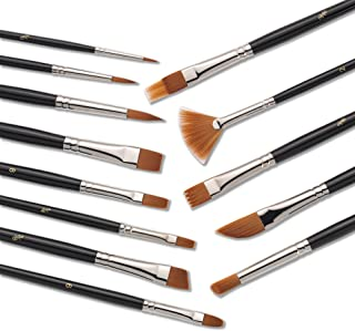 Jerry Q Art 13 Pcs Paint Brushes,Premium Quality Brown Synthetic Hair, High Performance for Oil, Acrylic, Tempera, Watercolor JQ-502