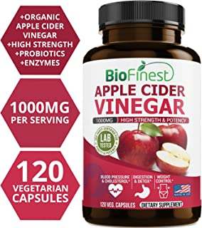 Biofinest Apple Cider Vinegar Supplements - All Natural ACV Pill for Weight Loss,Detox, Digestion, Energy Booster - High Strength 1000mg Cleanser, Perfect for All Diets (120 Vegetarian Capsules)