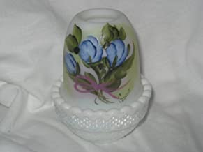 product image for Striking Blue Bouquet White on White Shade Candle Lamp