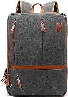 CoolBELL Convertible Messenger Bag Rucksack Schultertasche Laptop Tasche Handtasche Business Aktentasche Multifunktions Reise Rucksack Passt 17,3 Zoll Laptop für Herren/Damen Canvas Dunkelgrau