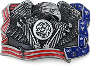 XGALA Mens Cool Flying Eagle Cowboy Native American Eagle Flag Engine Belt Buckle