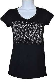 Rhinestone Diva V-neck Black t-shirt