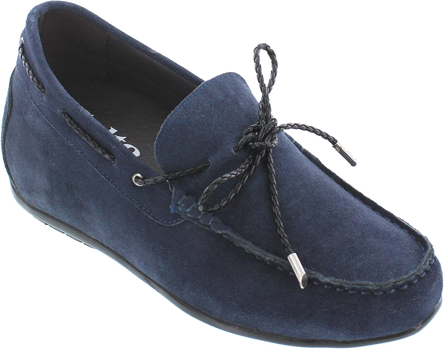 CALTO Men's Invisible Height Increasing Elevator shoes - Navy bluee Suede Leather Mac-Toe Slip-on Penny Loafers - 3 Inches Taller - Y45022