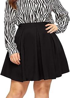 SheIn Women's Plus Size Basic Plain Flared Skater Casual Mini Short Skirt