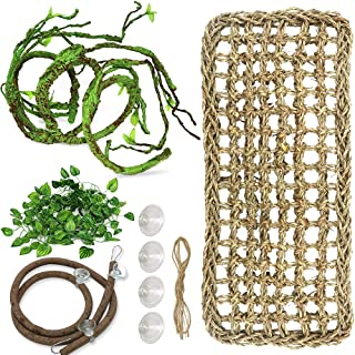 PETUOL Lizard Bearded Dragon Hammock Set, Natural Grass Fibers Pet Recliner, Flexible Bend-A Branch Jungle Climbing Vines for Geckos, Iguanas and Hermit Crabs, Snakes and More Reptiles Perched