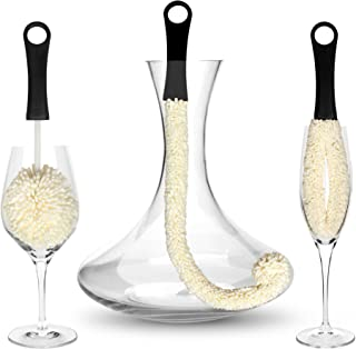 Bar Amigos Tm Set Of 3 - Decanter & Glassware Cleaning Brushes Glass Cleaning Brush For Cleaning Hard To Reach Areas Items Such As Wine Champagne Glasses Babies Bottles Beer Steins Neck Goblets