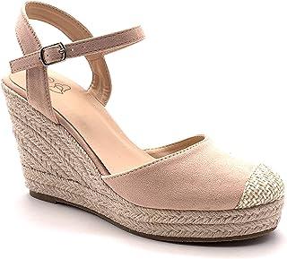 7a07d8aec2bd1a Angkorly - Chaussure Mode Sandale Espadrille Bohème Casual Romantique Femme  lanières avec de la Paille tressé