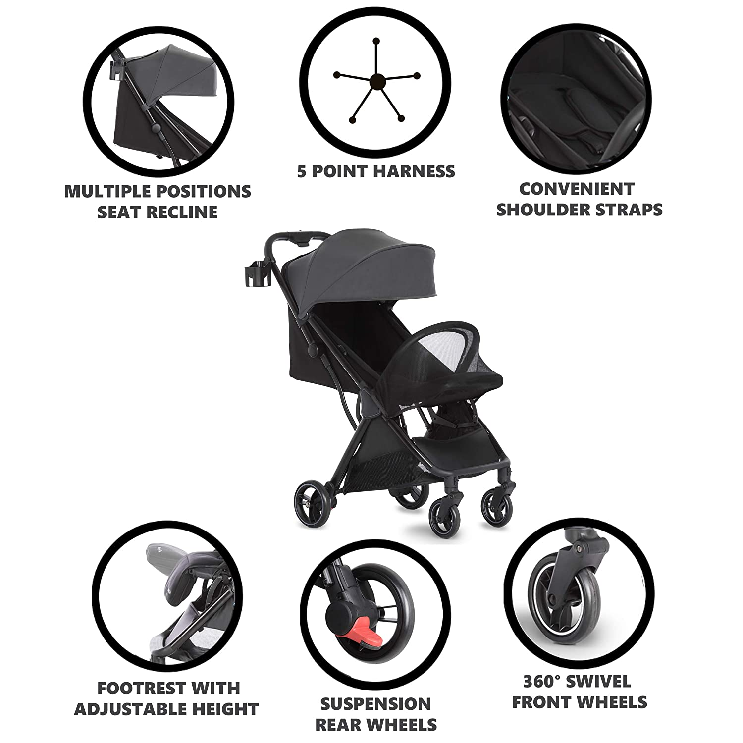 Dream On Me Insta Auto Fold Stroller | Portable Traveling Stroller | One Touch Fold | Compact Perfect for Plane, Grey