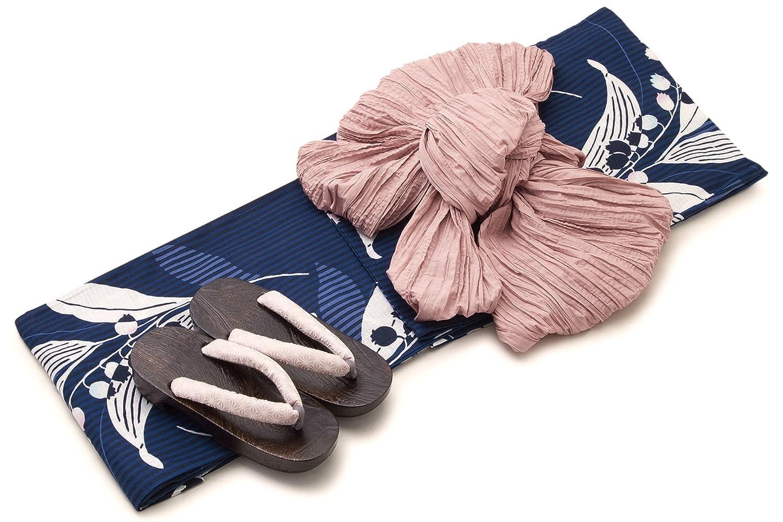 レディース浴衣セット[浴衣/兵児帯] bonheur saisons 紺色 ネイビー ピンクベージュ 鈴蘭 スズラン 花 縞 綿 紅梅織 浴衣セット 女性 フリーサイズ
