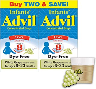 Sponsored Ad - Infants' Advil Concentrated Drops (.5 fl. oz., White Grape) 50mg Ibuprofen Fever Reducer/Pain Reliever, Dye...
