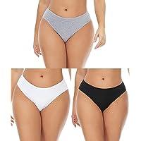 3-Pack HOYSM Women's Cotton Underwear (White/Black/Grey)