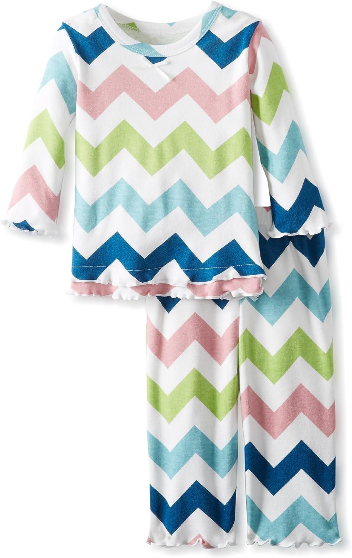 Sara's Prints Baby Girls' Cozy Ruffled Relaxed Fit Pajama Set