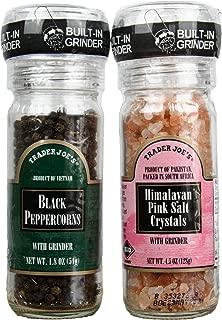 Trader Joe's Pink Salt and Black Pepper Grinder Set - Black Peppercorns and Pink Himalayan Salt Crystals