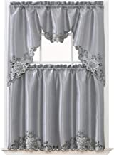 GOHD Golden Ocean Home Decor Passionate Bloom Kitchen Curtain Set Swag Valance and Tier Set. Nice Embroidery on Faux Silk Fabric with cutworks. (Silver Grey)