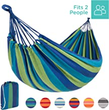 Best Choice Products 2-Person Brazilian-Style Cotton Double Hammock Bed w/Portable Carrying Bag - Blue