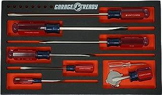 Garage Ready Screwdriver Organizer Tray - Holds 7 (Screwdriver Organizer Tray - Black/Red)