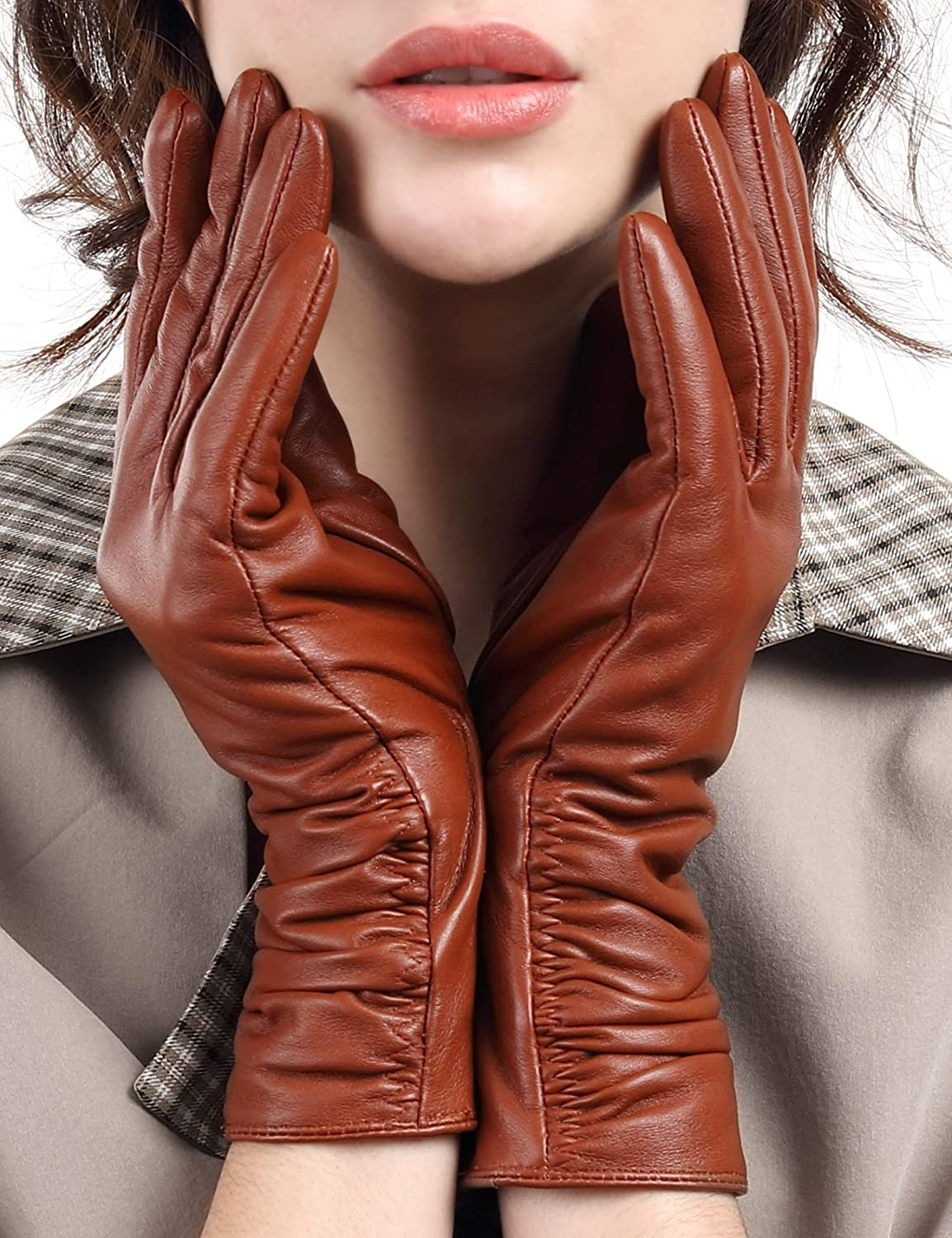 Leather Gloves for Women, with 3M Thinsulate Full-Hand Touchscreen Long Sleeves Texting Cold Weather Gloves