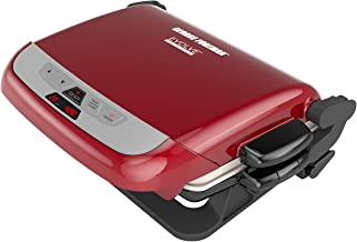 George Foreman 5-Serving Multi-Plate Evolve Grill System with Ceramic Plates, Deep Dish Bake Pan and Muffin Pan, Red, GRP4...