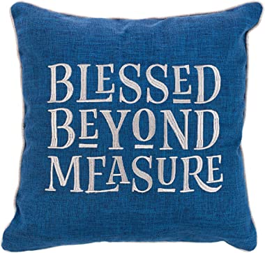 Christian Art Gifts Decorative Throw Pillow | Blessed Beyond Measure | Embroidered Blue Couch Pillow and Inspirational Home D