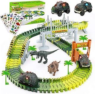Palotix - Juguetes de dinosaurio para niños de 3 años   Juguetes de tren de dinosaurio, pista de carreras, 170 piezas de d...