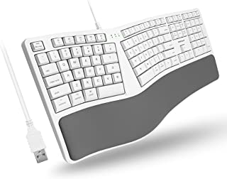Macally Mac Wired Keyboard with Wrist Rest - Natural and Comfortable Typing - Split Ergonomic Keyboard for Mac with 110 Ke...