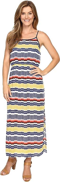 Elastic Waist Jagged Stripe Maxi Dress