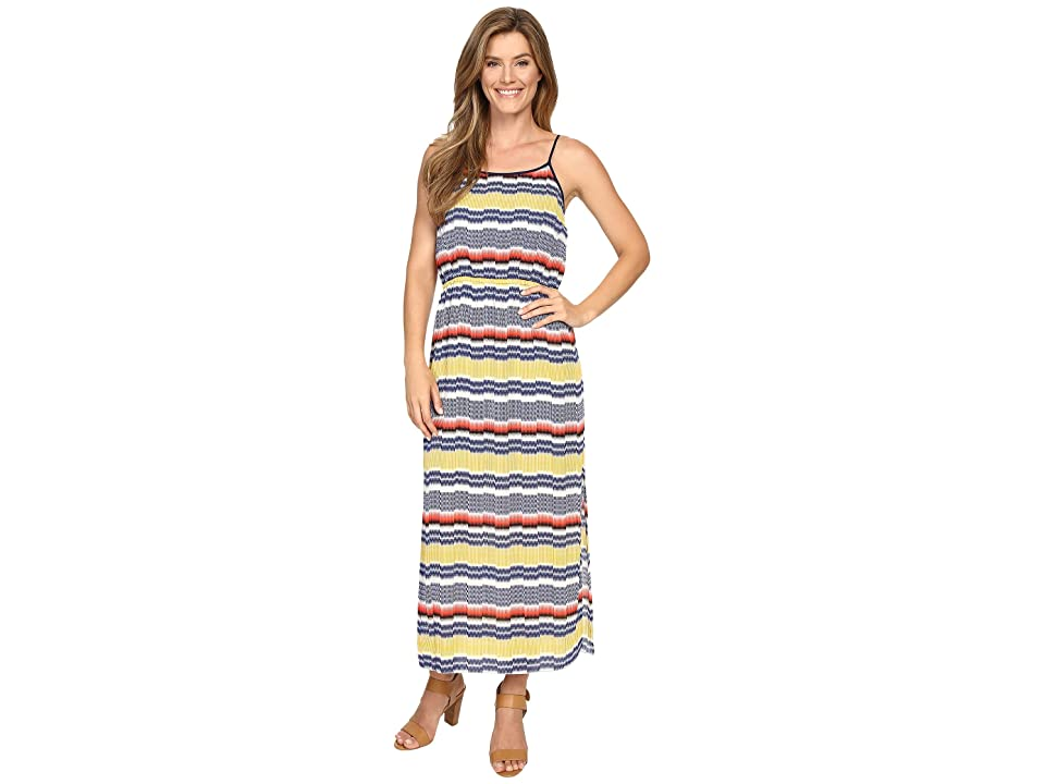 Vince Camuto Elastic Waist Jagged Stripe Maxi Dress (Gold Charm) Women
