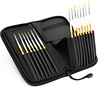 15pcs Artist Fine Detail Paint Brush Set, Miniature Paintbrushes, Handmade with Pop-up Carrying Case for Acrylic, Oil, Watercolor, Gouache,Tempera, Enamel, Nail and Body Painting - Tdbest