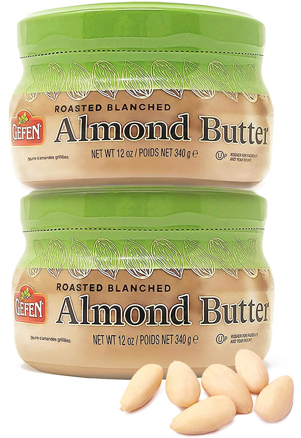 Gefen Roasted & Blanched Pure Almond Butter 12oz (2 Pack), Smooth, Rich & Super Creamy, Non GMO, Kosher for Passover