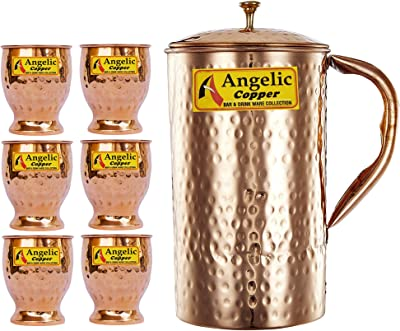 Angelic Copper Hammered Water Jug with Glasses Set, Set of 6, Brown