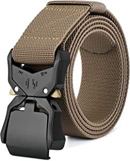 DEYACE Tactical Belts for Men, 1.5 inches Military Style Heavy Duty Nylon Belt with V-Ring Non-Slip Quick-Release Buckle