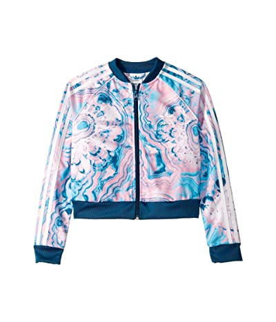 adidas Originals Kids Marble Crop Track Jacket (Little Kids/Big Kids) (Multicolor/Legend Marine/White) Girl