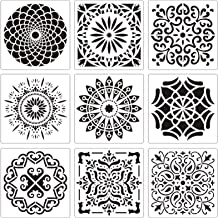 Acerich Mandala Stencil Large (12x12 Inch), Laser Mandala Dotting Tools Template Blossoming Flower Stencils for Painting, ...