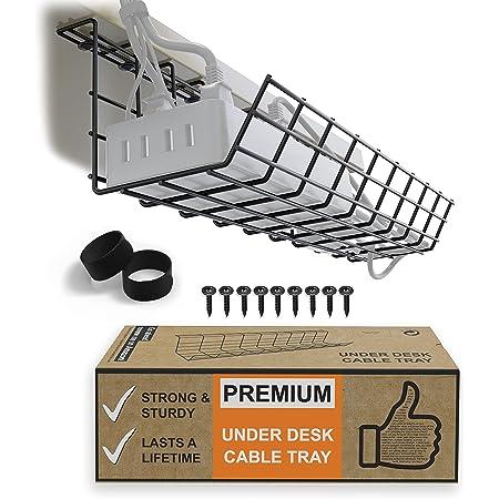 デスク下ケーブル収納トレー‐ケーブル管理のためのケーブルオーガナイザー。オフィス、家庭用金属製ワイヤーケーブルトレー。しっかり立つデスクケーブル収納トレー(ブラックコードバスケット‐シングル17インチ)