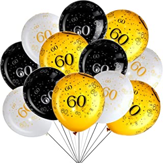 45 Piece 12 Inch 60th Birthday Party Latex Balloons Sixty Anniversary Party Decoration White Gold Black Theme Party Balloo...