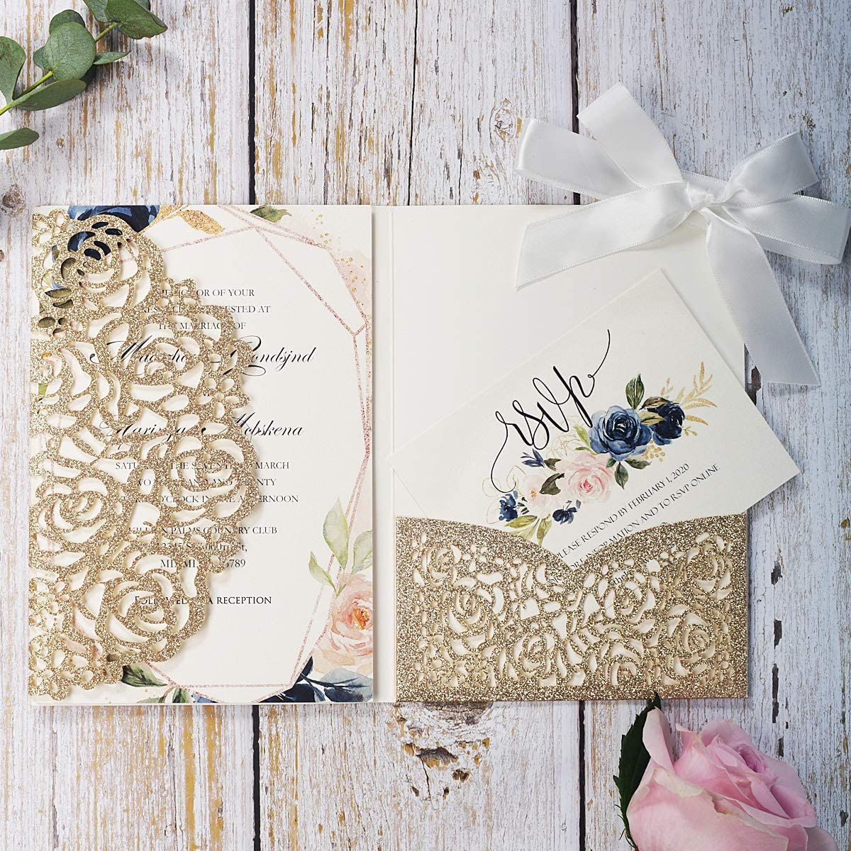 KUCHYNEE 5.1 x7.1 inch 20PCS Blank Gold Glitter Laser Cut wedding invitations with Envelopes and RSVP Hollow Rose Pocket With Ribbon Invitation Cards for Wedding Invite